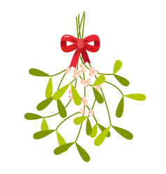 Mistletoe with red bow vector
