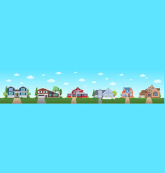 modern cottage house set with blue sky and clouds vector image