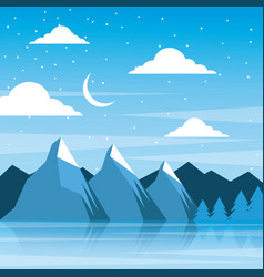 Night winter mountains moon clouds pine tree vector