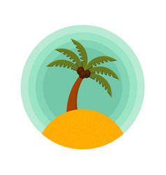 Palm trees color rounded icon of a palm vector