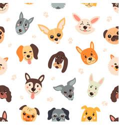 pattern dogs cartoon childish funny vector image