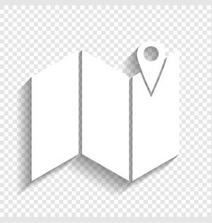 Pin on the map white icon with soft vector