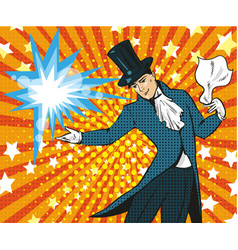 Pop art of magician performing vector