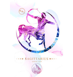Sagittarius sign with alcohol ink texture vector