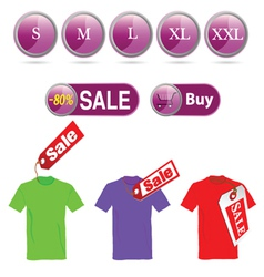 selling off t-shirt and sizes vector image