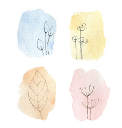 set delicate watercolor abstract vector image