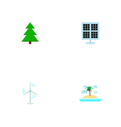 set of eco icons flat style symbols with island vector image