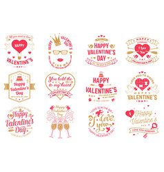 Set of happy valentines day sign stamp card with vector