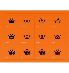 Shopping Basket icons on orange background vector image
