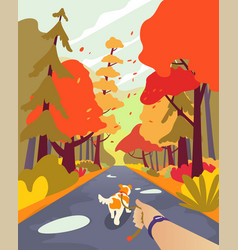 simple cartoon people autumn park walk the dog vector image