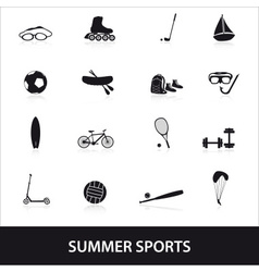 Summer sports and equipment icon set eps10 vector