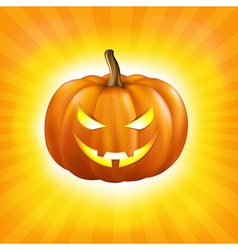 Sunburst Background With Pumpkin vector image