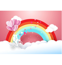 Sweet couple on bicycle flying with rainbow vector