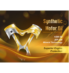 Synthetic motor oil realistic promo banner vector