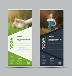 Template of universal roll-up banner with place vector