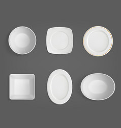 Top view white different shapes bowls vector