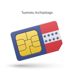 Tuamotu Archipelago phone sim card with flag vector