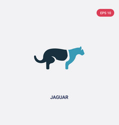 Two color jaguar icon from animals concept vector
