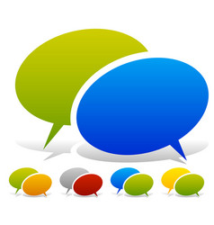 Two overlapping speech talk bubbles in more color vector