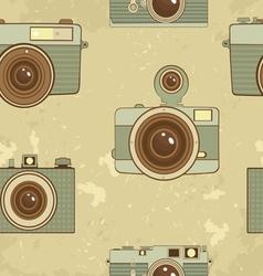 Vintage cameras pattern vector image