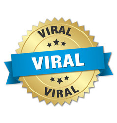 Viral round isolated gold badge vector
