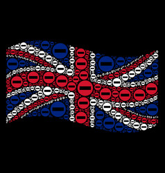 Waving uk flag collage of forbidden access icons vector
