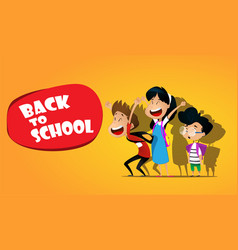 welcome back to schoolcute school kids vector image