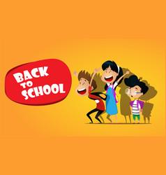 welcome back to schoolcute school kids vector image