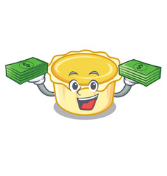 With money bag egg tart mascot cartoon vector