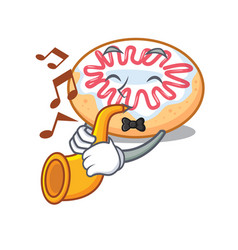with trumpet jelly donut mascot cartoon vector image