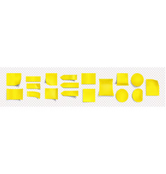 yellow stickers different shapes with curl edge vector image