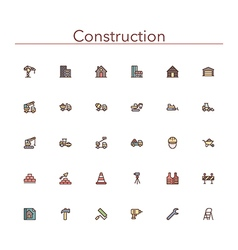 Construction Colored Line Icons vector image