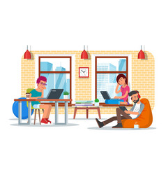 Coworking center concept flat vector