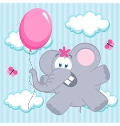 elephant on balloon vector image vector image