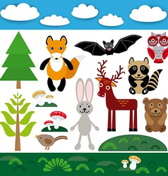Funny set of cute wild animals forest and clouds vector image