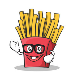 geek face french fries cartoon character vector image vector image