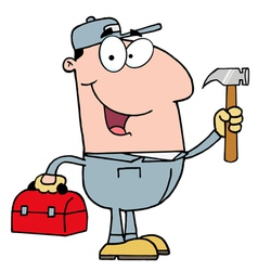 handy man with tool box vector image