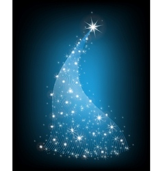 Christmas blue tree with stars vector image