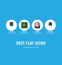 flat icon device set of receptacle transducer vector image