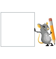 Mouse with a pencil vector image