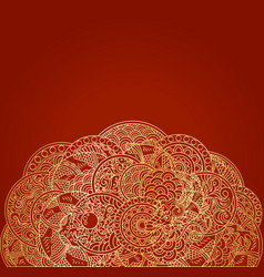 red asian background with golden dragon ornament vector image vector image