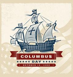 vintage columbus day label vector image