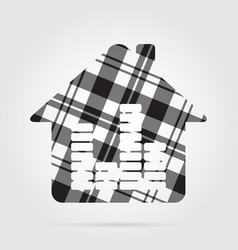 Grayscale tartan icon - house with equalizer vector