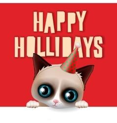 Happy holidays card with fun grumpy cat vector image vector image