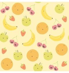 Cartoon funny fruits seamless pattern vector image