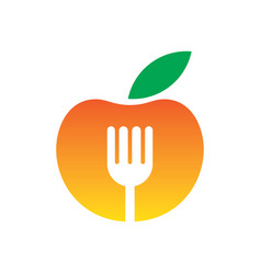 circle apple fork restaurant logo vector image vector image