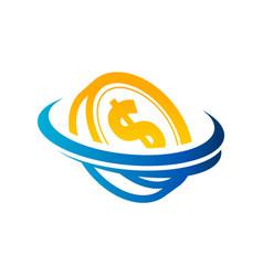 dollar coin logo icon vector image