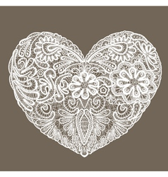 Heart shape is made of lace doily element for Vale vector image