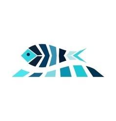 Mosaic fish on the wave logo icon sea fishing vector image