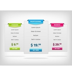 pricing hosting banner plans table vector image vector image